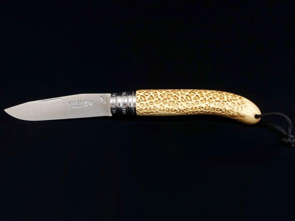 Couteau Verdier L'Alpage Léopard Hêtre