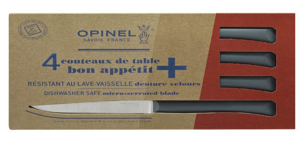 Boite de 4 Opinel Couteau de table Bon Appetit + Anthracite