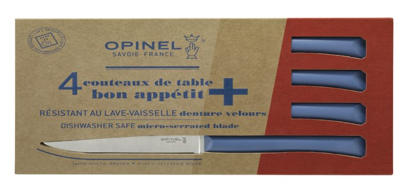 Boite de 4 Opinel Couteau de table Bon Appetit + Bleu
